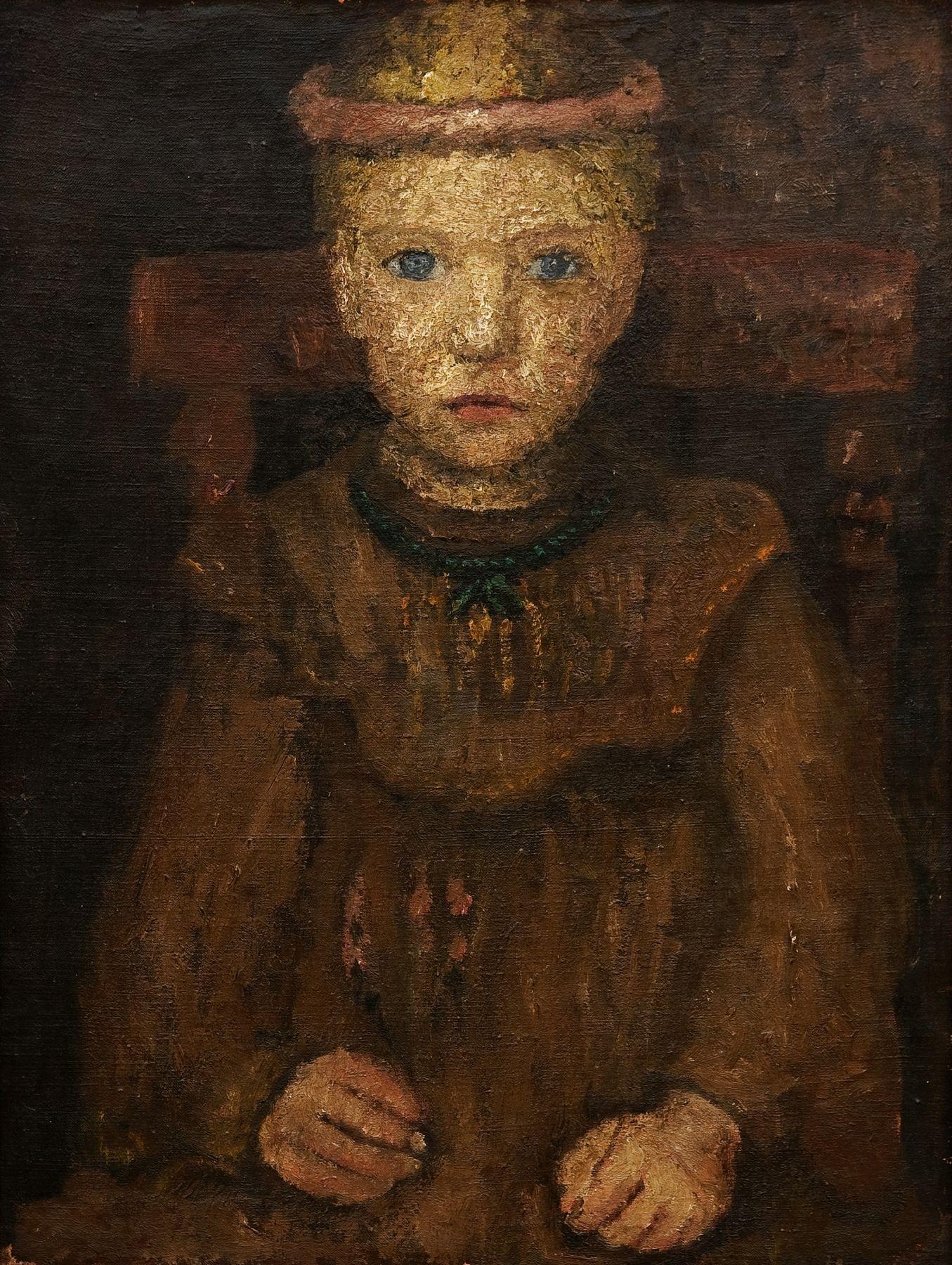 Paula Modersohn-Becker, Sitzendes Mädchen mit grüner Kette, um 1904, Kunsthalle Mannheim